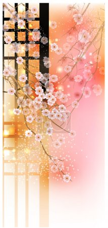 Illustration for Cherry Tree (Card with stylized vector blossom) - Royalty Free Image