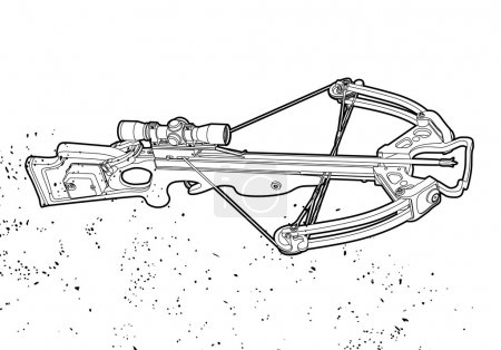 Outline crossbow on white background...