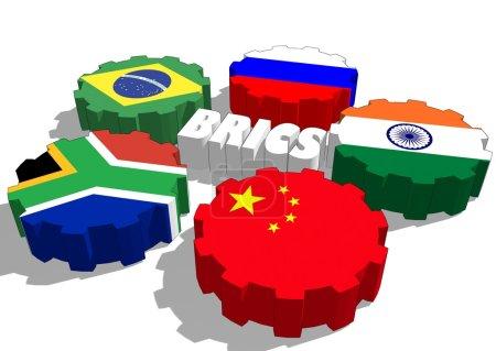 Photo pour Association de cinq grandes économies nationales émergentes : Brésil, Russie, Inde, Chine et Afrique du Sud - image libre de droit