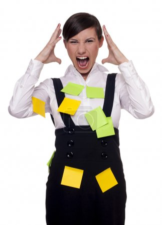 Woman stressed with too many tasks