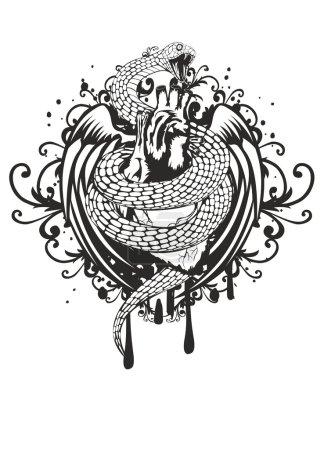 Illustration pour Illustration vectorielle des ailes et du motif du coeur de serpent tordant sur fond blanc - image libre de droit