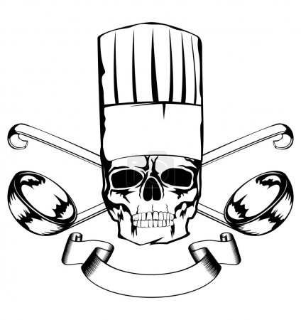 Skull in toque and crossed lables