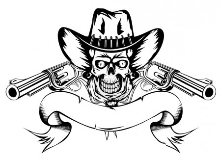 Illustration for Vector illustration human skull in cowboy's hat and two revolvers - Royalty Free Image