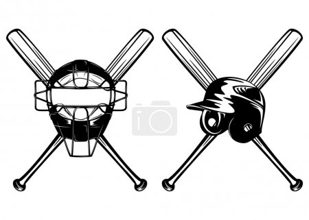 helmet mask and bats