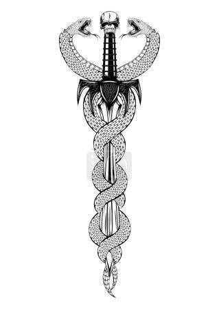 Illustration pour Illustration vectorielle épée fantaisie avec serpents - image libre de droit