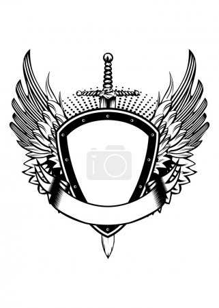 Vector illustration board wings and sword...