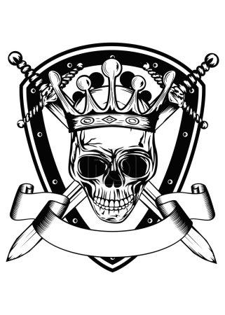 skull in crown board and crossed swords