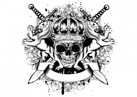 Skull in crown, lions and crossed swords
