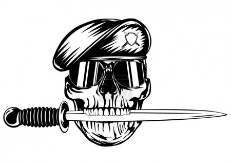 Skull in beret with dagger