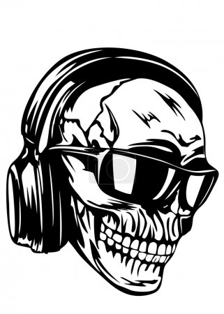 Skull in headphones and sunglasses