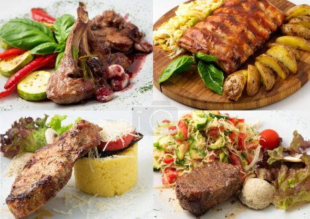 Collage of delicious beef meals