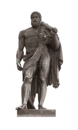 Hercules statue isolated on white, greek mythologi...