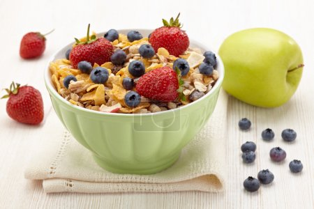 Photo for Bowl of healthy muesli and fresh berries - Royalty Free Image