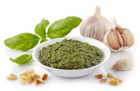 Photo for Bowl of basil pesto sauce - Royalty Free Image