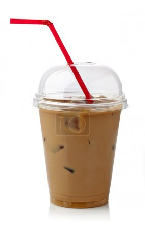 Photo for Iced coffee in plastic glass with straw isolated on white background - Royalty Free Image
