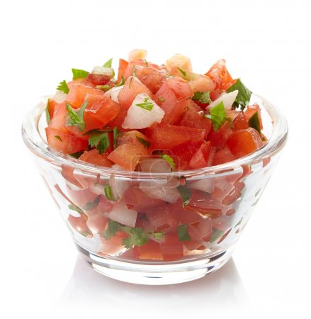Photo for Bowl of fresh salsa dip isolated on white background - Royalty Free Image