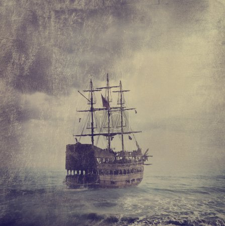 Old pirate ship in the sea. Texture added....