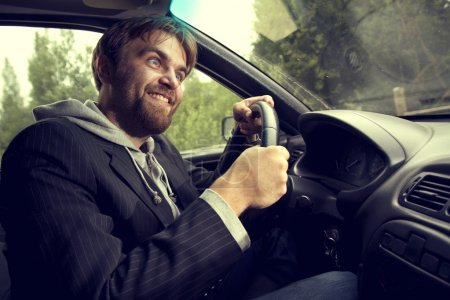 Photo for Humor man driving a car - Royalty Free Image