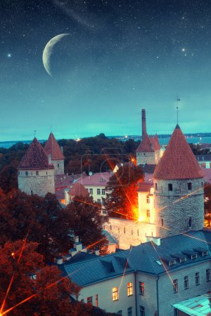 Medieval fairytale city at night