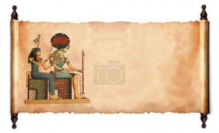Photo pour Faites défiler les images des dieux égyptiens - Pharaon et Horus. Objet sur blanc - image libre de droit