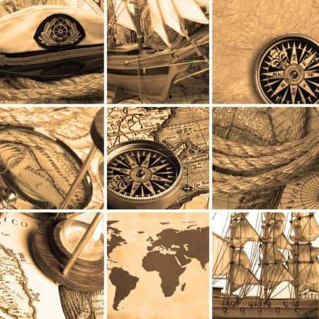 Photo pour Collage de marine avec compas anciens et cartes. couleur sépia - image libre de droit