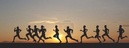 Photo for Marathon, black silhouettes of runners on the sunset - Royalty Free Image