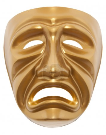 Photo for Tragedy theatrical mask isolated on a white background - Royalty Free Image