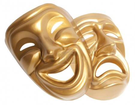 Photo for Comedy and Tragedy theatrical mask isolated on a white background - Royalty Free Image