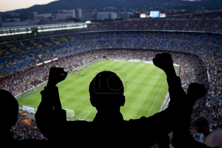 Photo pour Supporters heureux dans le stade - image libre de droit