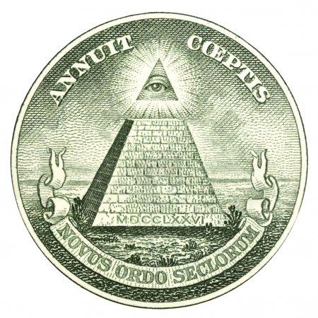 Photo pour Le grand sceau des États-Unis d'Amérique de l'inverse d'un billet d'un dollar - image libre de droit