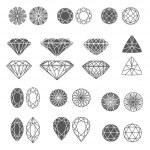 Vector set of diamond design elements - cutting sa...