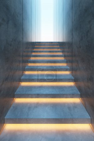 Photo for Modern minimalism style stairs with night lighting - Royalty Free Image