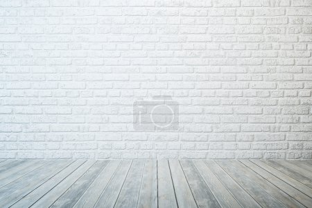 Empty room with white brick wall and wooden floor...