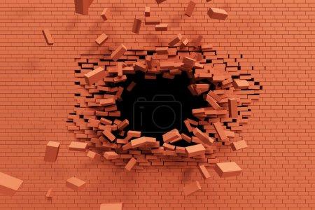 Photo pour Briser le mur de briques, rendu 3D haute résolution - image libre de droit
