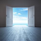 Bílá prázdná místnost s otevřené dveře