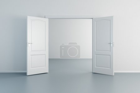 Photo for Empty white room with opened door - Royalty Free Image