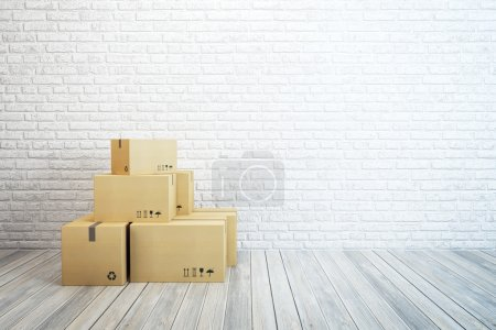 Photo for Moving boxes at a new home, 3d rendering - Royalty Free Image