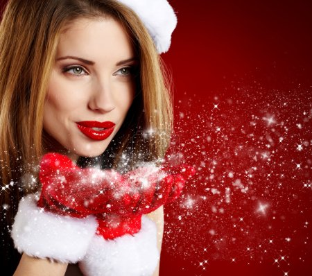 Photo for Portrait of beautiful sexy girl wearing santa claus clothes - Royalty Free Image