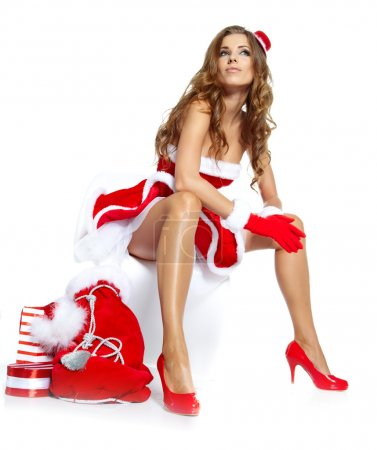 Photo for Sexy girl wearing santa claus clothes - Royalty Free Image
