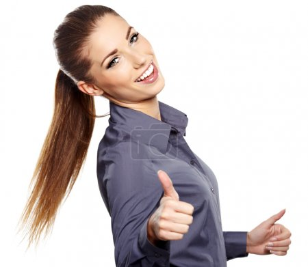 Happy smiling business woman with ok hand sign