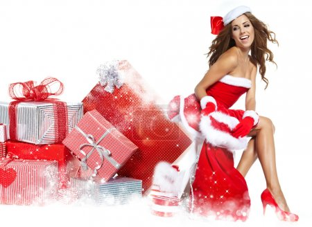 Photo for Beautiful sexy girl wearing santa claus clothes - Royalty Free Image