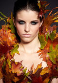 Autumn Woman. Fall. Beautiful Stylish Girl With Professional Mak