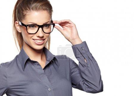 Eyewear glasses woman closeup portrait. Woman wearing glasses ho