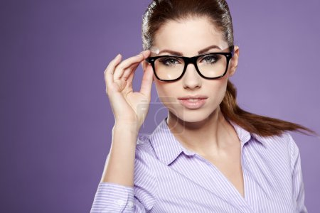 Photo for Cute young business woman with glasses - Royalty Free Image