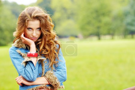 Photo for Young beautiful sexy woman outdoors - Royalty Free Image