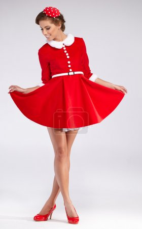 Photo for Full Portrait of Beautiful Christmas Woman - Fashion retro. Series of photos. - Royalty Free Image