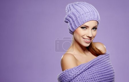 Photo for Beautiful winter woman in warm clothing - Royalty Free Image