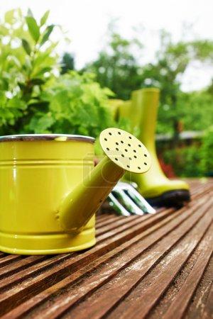 Photo pour Outils de jardinage sur la terrasse dans le jardin - image libre de droit