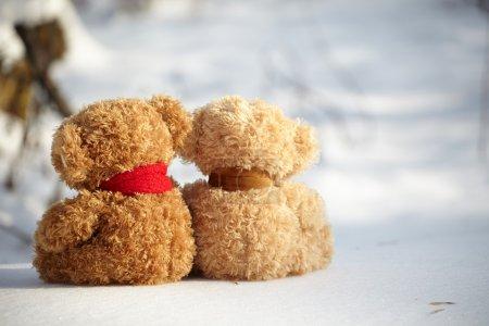 Teddy bears on a snow around each