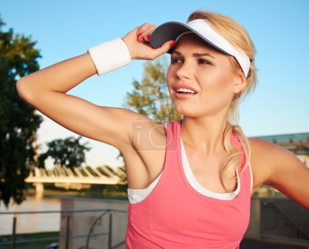 Photo for Fitness and lifestyle concept - woman after doing sports outdoors - Royalty Free Image
